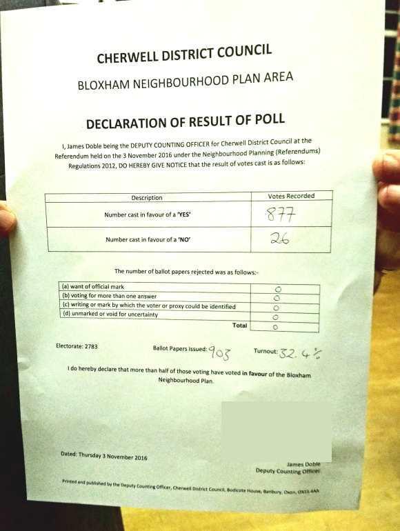 Referendum Result 3rd Nov 2016